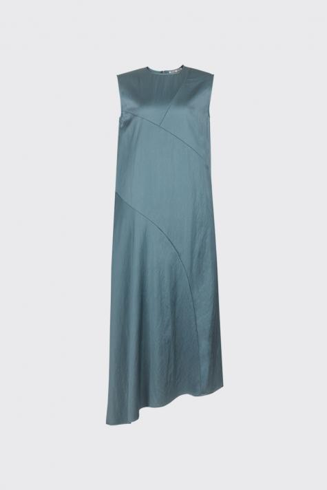[55% OFF] Jade green asymmetrical cut satin dress
