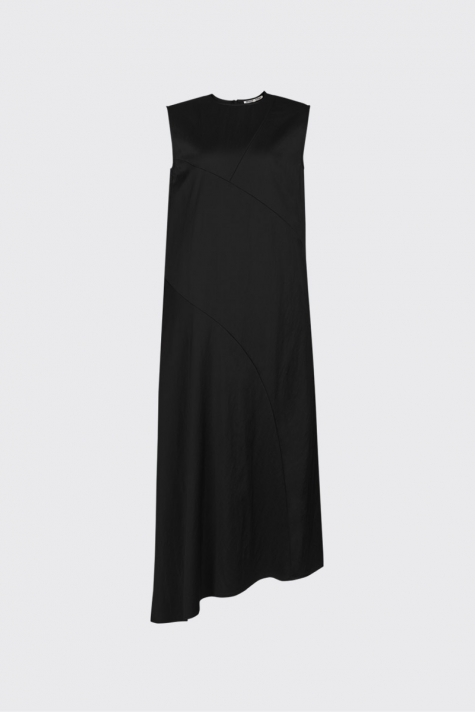 [55% OFF] Black asymmetrical cut satin dress