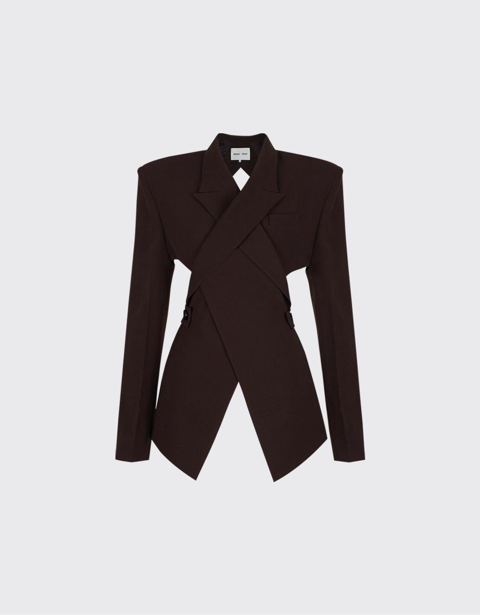 [1차 재입고]Dark brown overlapped lapel collar open-back blazer