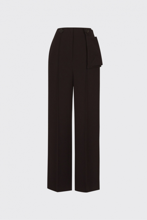 [55% OFF] Dark brown buttoned waist pouch trousers