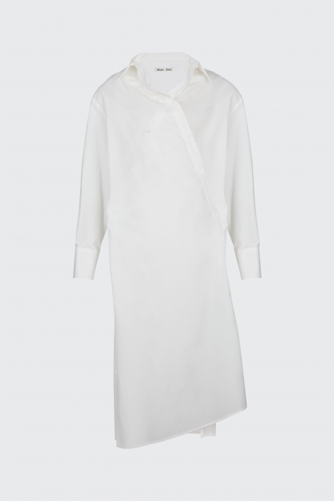 [40% OFF]White overlapped shirt dress