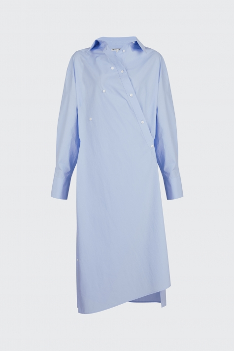 [40% OFF]Light blue overlapped shirt dress