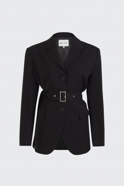 [40% OFF]Black center back slit 2-way blazer