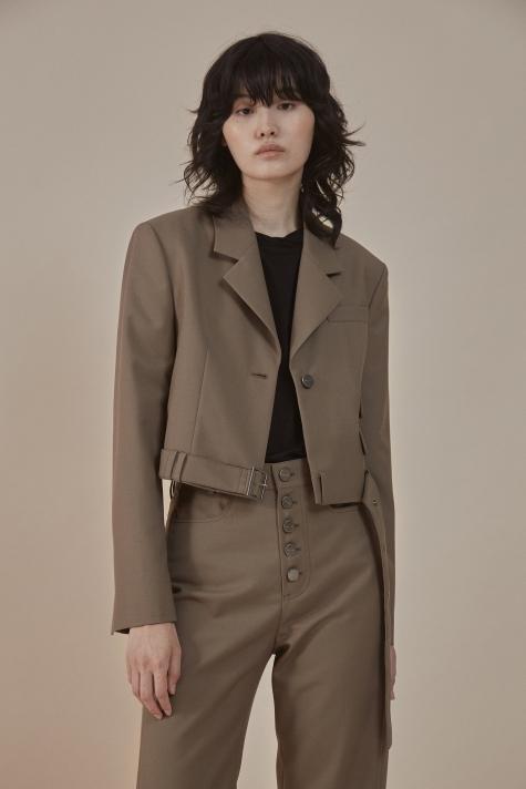 Belted short blazer