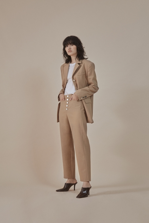Sand| buttoned-up closure trousers